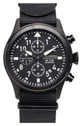 Men's Jack Mason Brand 'Aviation' Chronograph Nato Strap Watch 42Mm Black Black