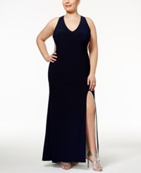 Xscape Evenings Plus Size Illusion Beaded Back Gown Navy Nude Silver