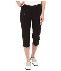 Jamie Sadock Airwear Light Weight 28.5 Pedal Pusher W Front Zipper And Button Closure Jet Black Women's Capri