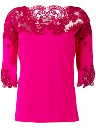Ermanno Scervino Lace Detail Knitted Top Women Cotton 42 Pink Purple
