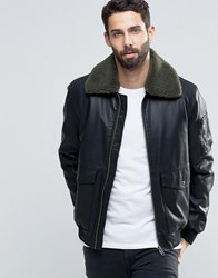Asos Faux Leather Jacket With Borg Collar In Black Black
