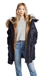 Army By Yves Salomon Puffer Hooded Coat With Fur Trim Navy Natural