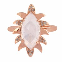 Meghna Jewels Claw Marquise Ring Moonstone And Diamonds White Rose Gold