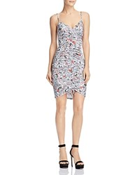 Guess Janiah Ruched Bodycon Dress Spring Ditsy Brilliant White