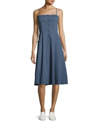 Theory Kayleigh Button Front Midi Sun Dress Blue