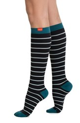 Women's Vim And Vigr Nautical Stripe Graduated Compression Trouser Socks Black Mint