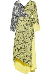 Diane Von Furstenberg Printed Silk Crepe De Chine Wrap Dress Pastel Yellow