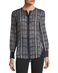 Emporio Armani Button Front Long Sleeve Checkered Blouse Multi Pattern