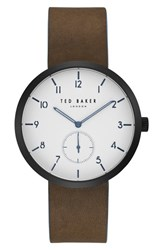Ted Baker Men's London Josh Subeye Leather Strap Watch 42Mm White Dark Brown