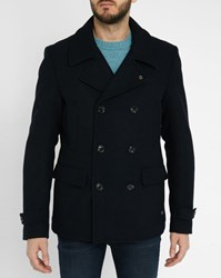 Scotch And Soda Navy Wool Quilted Pea Jacket Blue
