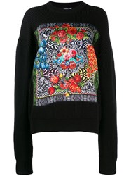 Versace Jeans Couture Floral Print Sweater Black