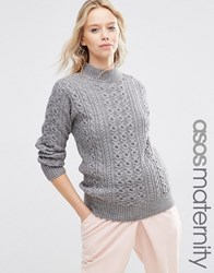 Asos Maternity Jumper With High Neck In Cable Stitch Grey