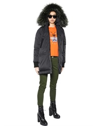 Kenzo Nylon Parka With Raccoon Fur Trim