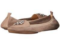 Yosi Samra Orly Kid Suede Loafer With Rhinestone Embellishment Mink Women's Shoes Brown