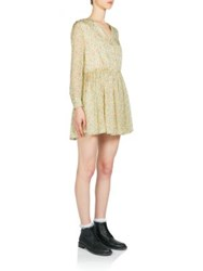 Saint Laurent Mini Floral Print Open Collar Silk Shirtdress Gold