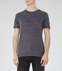 Reiss Barnington Mens Flecked Crew Neck T Shirt In Blue
