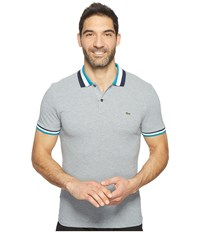 Lacoste Short Sleeve Semi Fancy Slim W Textured Stripe Collar Slim Chine Platinum Gange Blue Men's Clothing