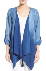 Women's Bobeau Chambray Roll Sleeve Drape Front Jacket