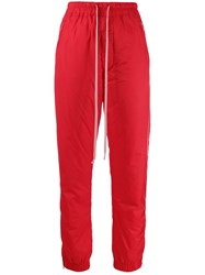 Rick Owens Padded Track Trousers Red
