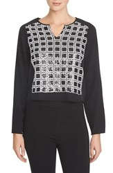 Women's 1.State Sequin Grid Blouse Rich Black