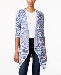American Rag Printed Open Front Cardigan Only At Macy's Blue Multi