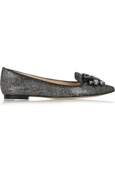 Tory Burch Mayada Embellished Metallic Suede Point Toe Flats Gray