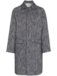 Jil Sander Single Breasted Herringbone Virgin Wool Blend Coat Blue