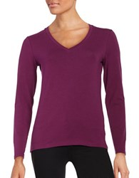Lord And Taylor V Neck Tee Dark Purple