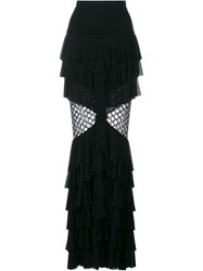 Balmain Ruffle Fishnet Maxi Skirt Black