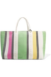 Truss Stripe Extra Large Woven Raffia Effect Tote White