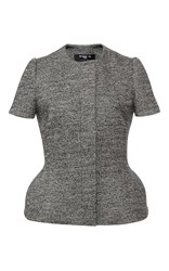 Paule Ka Short Sleeve Tweed Jacket With Peplum Bottom Black