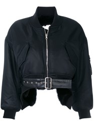 Comme Des Garcons Noir Kei Ninomiya Cropped Bomber Jacket Acrylic Nylon Polyester Artificial Leather Black
