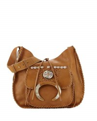 Ralph Lauren Whipstitched Leather Hobo Bag Tan