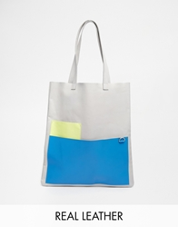 Jack Wills Pocket Leather Shopper In Pale Grey Colourblock