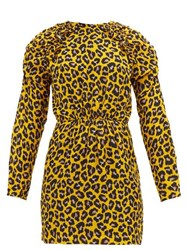 Msgm Ruffled Leopard Print Crepe Mini Dress Yellow