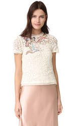 Red Valentino Embroidered Birds Tee Cream