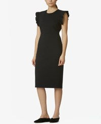 Avec Les Filles Dress With Ruffle Sleeve Detail Black