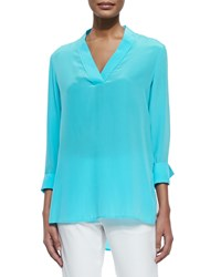 Magaschoni V Neck High Low Silk Tunic Mint
