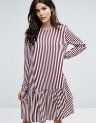 Selected Femme Striped Dropped Waist Dress Striped Multi