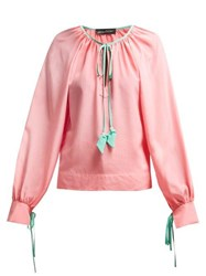Anna October Contrast Trim Silk Blouse Pink Multi