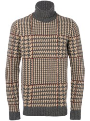 Fay Houndstooth Knit Jumper Wool Grey