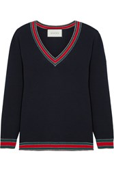 Gucci Stripe Trimmed Wool Sweater Midnight Blue