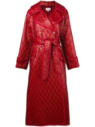 Temperley London Vera Patent Coat Red