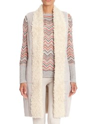 Nic Zoe Sherpa Shawl Collared Zig Zag Sweater Coat Silver Cloud