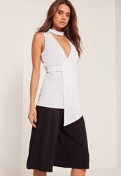 Missguided Choker Neck Sleeveless Wrap Tunic White White