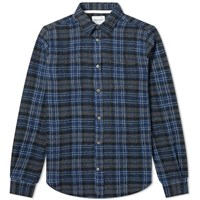 Norse Projects Osvald Japanese Gauze Check Shirt Blue