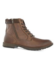 Topman Brown Leather Zip Chukka Boots
