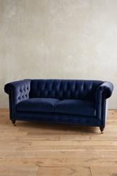 Anthropologie Velvet Lyre Chesterfield Sofa Hickory Legs Blue