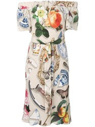 Boutique Moschino Mixed Print Midi Dress Neutrals