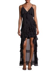 Alice Olivia Laverne Asymmetrical Ruffle Gown Black
